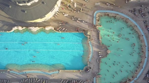 Thumbnail for Aerial Shot of Swimming Pool Gellert Spa and Bath Budapest, Hungary