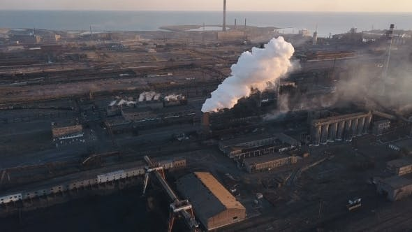 Thumbnail for Emission To Atmosphere From Industrial Pipes. Smokestack Pipes Shooted with Drone