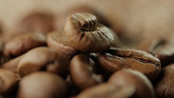 Thumbnail for Rotating Roasted Coffee Beans Rotating on Table.