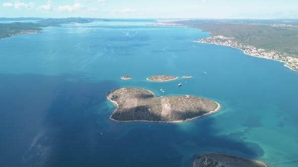Thumbnail for Aerial View of Beautiful Heart-shaped Island of Galesnjak, Also Called Island of Love, in Pasman