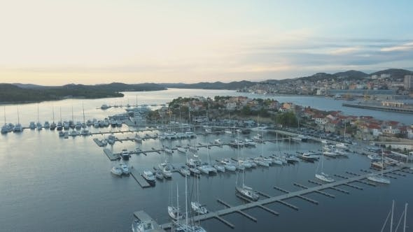 Thumbnail for Aerial View of Yacht Club and Marina in Croatia, Sibenik