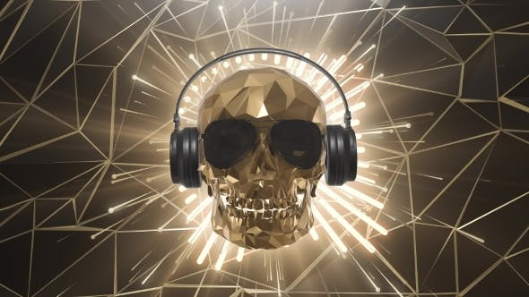 Thumbnail for The Golden Low Poly Skull of the DJ on the Background of the Equalizer