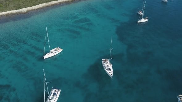 Thumbnail for Aerial View of Cozy Mediterranean Island. Blue Lagoon, Island Paradise. Adriatic Sea of Croatia