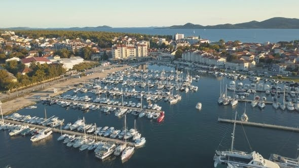Thumbnail for Aerial View of Yacht Club and Marina in Croatia Biograd Na Moru