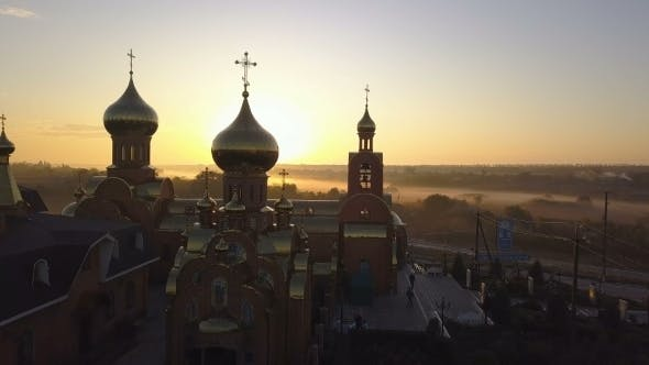 Thumbnail for Aerial View of Church at Sunrise