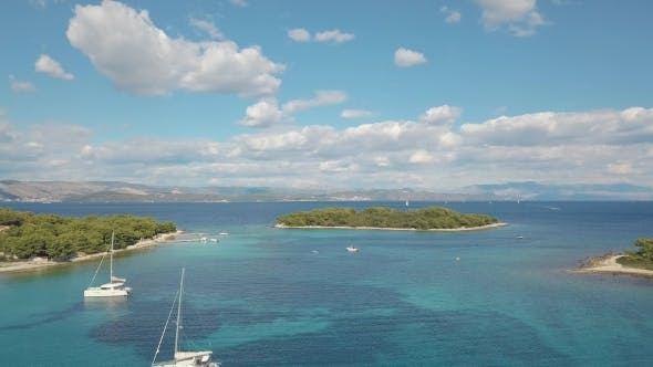 Thumbnail for Aerial View of Cozy Mediterranean Island Blue Lagoon, Island Paradise Adriatic Sea of Croatia