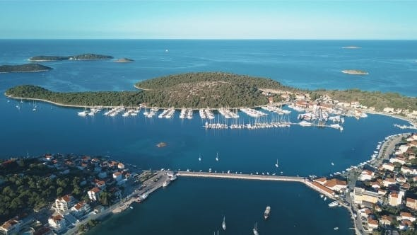 Thumbnail for Aerial View of Yacht Club and Marina in Croatia Frapa