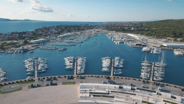 Thumbnail for Aerial View of Beautiful Modern Marine of Sukosan Densely Packed with Sailing Boats and Yachts