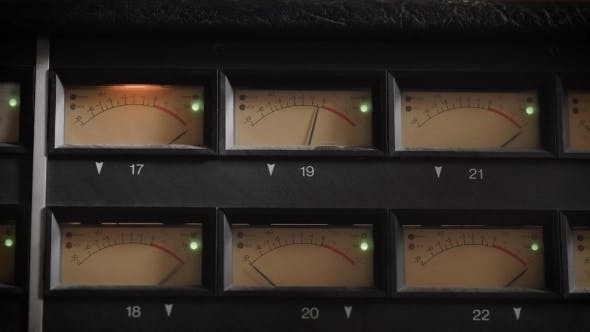 Thumbnail for Old Displays of Professional Analog Vu Metres in a Recording Studio, Measuring and Showing Decibels
