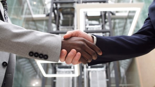 Thumbnail for Two Multinational Business People Handshake. Greeting Deal Concept.