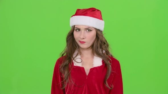 Thumbnail for Santa Girl in Suit Shows Thumbs down on Green Screen