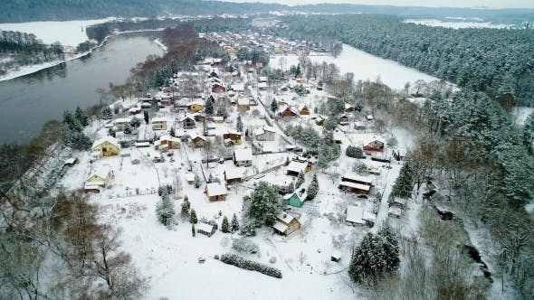 Thumbnail for Aerial View of Village at Winter