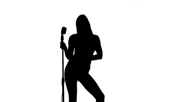 Thumbnail for Silhouette of Singer Sexually Moving with a Retro Microphone on White Background