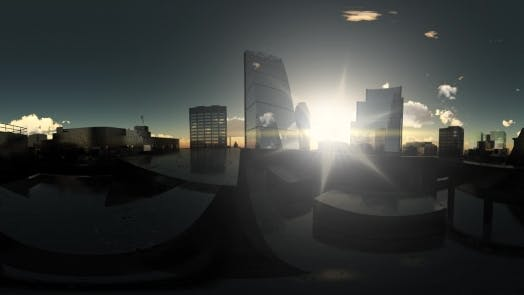 Thumbnail for VR 360. Sunshine and Clouds Above London City in Virtual Reality