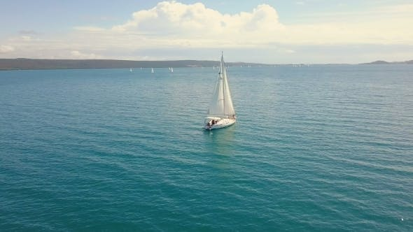 Thumbnail for Yacht Sailing on Opened Sea. Sailing Boat