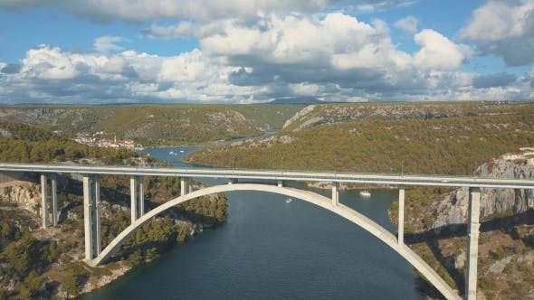 Thumbnail for Panorama View with Bridge and Sea Around Islands. Beautiful Landscape Surrounded with Blue