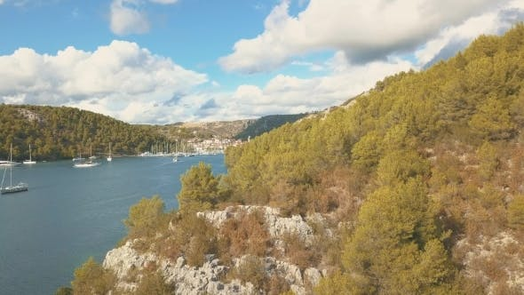 Thumbnail for Aerial Panorama View with Bridge and Sea Around Islands. Beautiful Landscape Surrounded with Blue