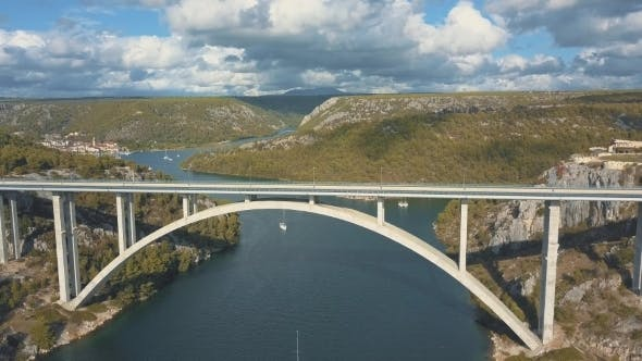 Thumbnail for Aerial Panorama View with Bridge and Sea Around Islands Beautiful Landscape Surrounded with Blue