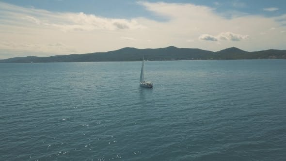 Thumbnail for Aerial View of Yacht Sailing Near Beautiful Islands
