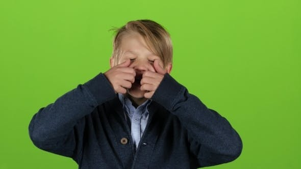Thumbnail for Kid Is Making Grimaces on Green Screen