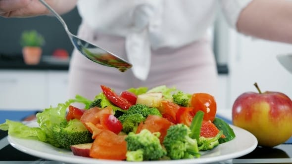Thumbnail for Healthy Vegetable Salad with Olive Oil, Lettuce with Tomatoes and Cucumbers
