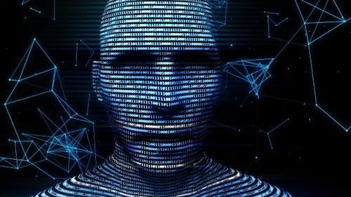 Ein digitaler virtueller Mann, der aus BinärCode generiert wird