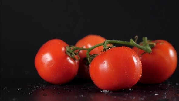 Thumbnail for Drop Dropped Perfect Fresh Red Wet Tomatoes with Tomato on Background