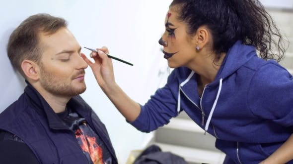 Cover Image for Actors Prepares To Perform on Scene and Makes Greasepaint on Face