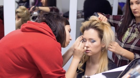 Thumbnail for Professional Make-up Artist and Hairdresser Prepares Actress to the Stage
