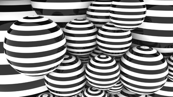 Thumbnail for Abstact Glossy Black and White Striped Spheres