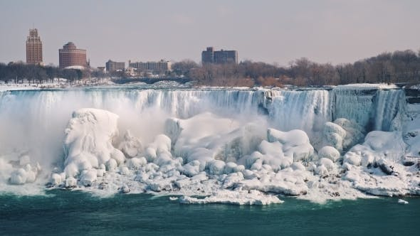 The Frozen Niagara Falls And The American Coast View From The Canadian Side By Stockseller On Envato Elements
