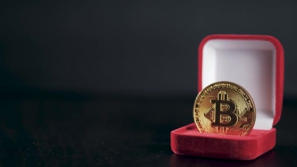 Thumbnail for Gold Bitcoin. Treasures - Crypto Currency Litecoin Ethereum. Old Wooden Box Virtual Money on a Dark