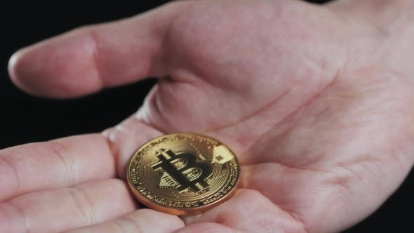 Thumbnail for Cryptocurrency Golden Bitcoin Coin. Man Holding in Hand Symbol of Crypto Currency - Electronic