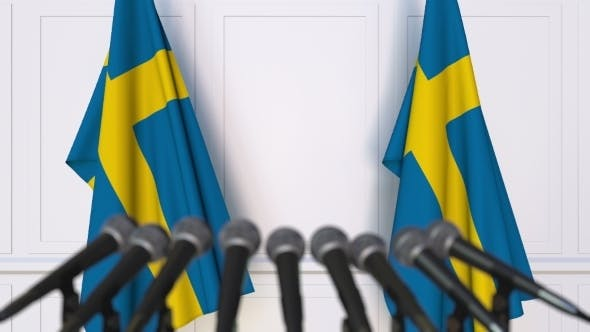 Thumbnail for Swedish Official Press Conference Featuring Flags of Sweden