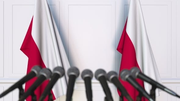 Thumbnail for Polish Official Press Conference Featuring Flags of Poland