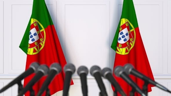 Thumbnail for Portuguese Official Press Conference Featuring Flags of Portugal