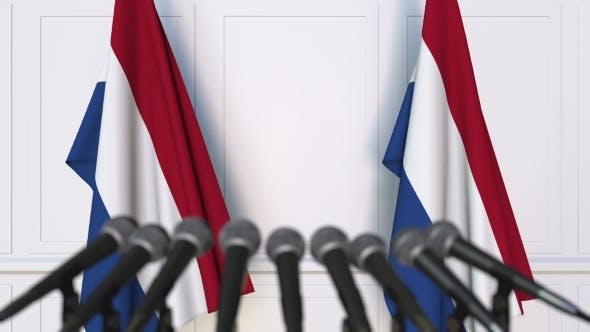 Thumbnail for Dutch Official Press Conference Featuring Flags of the Netherlands