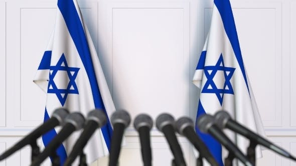 Thumbnail for Israeli Official Press Conference Featuring Flags of Israel