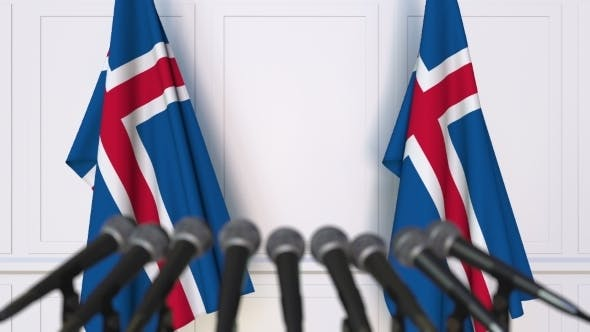 Thumbnail for Icelandic Official Press Conference Featuring Flags of Iceland