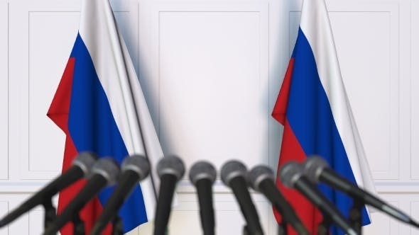 Thumbnail for Russian Official Press Conference Featuring Flags of Russia