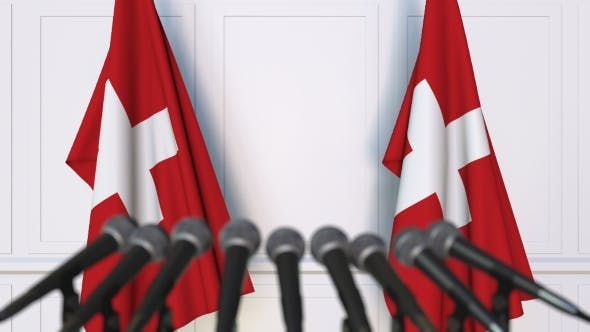 Thumbnail for Swiss Official Press Conference Featuring Flags of Switzerland