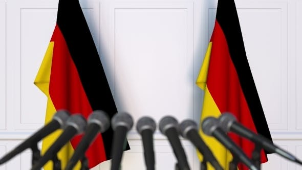 Thumbnail for German Official Press Conference Featuring Flags of Germany