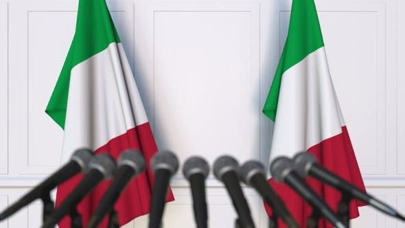 Thumbnail for Italian Official Press Conference Featuring Flags of Italy