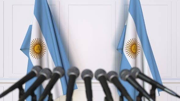 Thumbnail for Argentinian Official Press Conference Featuring Flags of Argentina