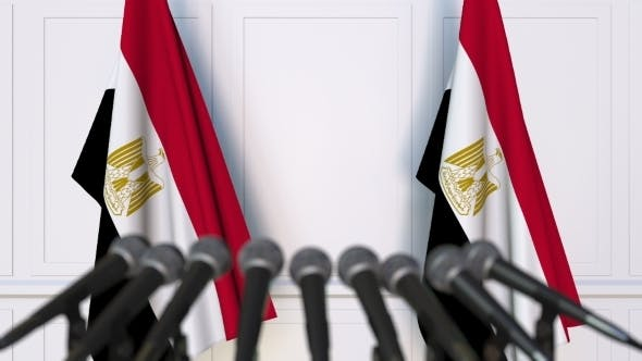Thumbnail for Egyptian Official Press Conference Featuring Flags of Egypt