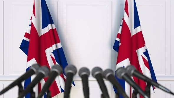 Thumbnail for British Official Press Conference Featuring Flags of the United Kingdom