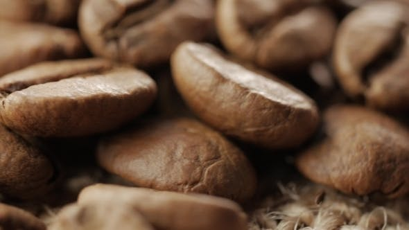 Cover Image for of Coffee Beans. In Front of the Camera Rotates Plate with Coffee Beans.