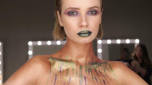 Thumbnail for Grüne Mode Sexy Lippen und offener Mund
