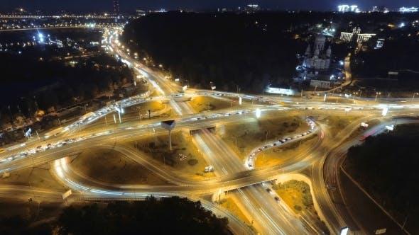 Thumbnail for Hyperlapse  of Night City Traffic. Kiev, Ukraine. Vertical Aerial View.