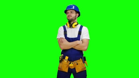 Thumbnail for Builder Is Thinking How to Properly Draw a Sketch for Building a Building on Green Screen